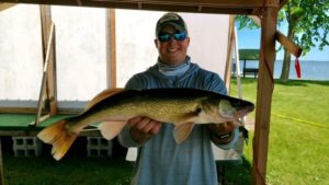 LOA President and Guide Jason Freed with a great tournament walleye