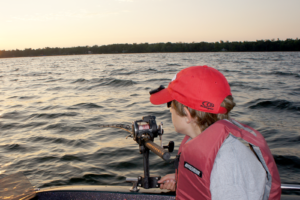 A sunset trip on Pelican Lake provides a great back drop for an amazing fishing memory